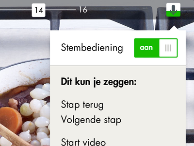 Allerhande App cooking app ipad app voicecontrol toggle flat callout tooltip