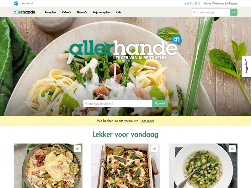New Allerhande website online! cooking recipe allerhande fabrique food flat flat design ui ux webdesign responsive sanne wijbenga