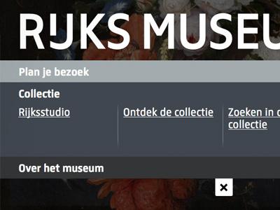 Rijksmuseum website ui menu museum rijksmuseum amsterdam webdesign navigation