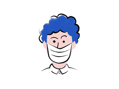 Mask cleaning office wfh work afro hair blue design character branding safe clean quarantine mask covid drawing illustration