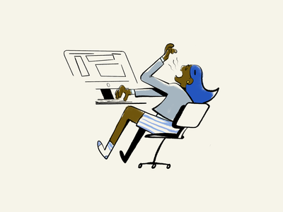 Work from home 02 character comic design illustration desk chair workplace feminine female environment home office workspace work work from home wfh