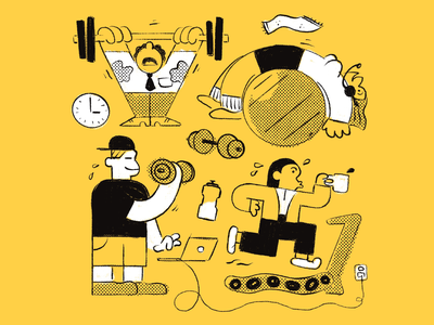 Workplace Gym clock towel sweaty water bottle illustration character meeting exercise muscles office space treadmill weights laptop conference zoom workout coffee gym workplace office