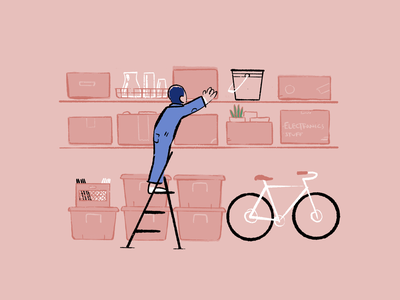 Organized drawing illustration structured planned red blue plant clean shed storage ladder bike spring cleaning order containers boxes garage organize