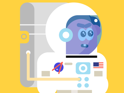 Neil star planet space flight fly nasa spaceflight moon usa cosmos neil armstrong character geometry shapes colors illustration