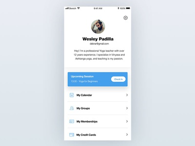 Mobile app profile page