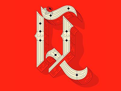 TYPEFIGHT Q color line work hand lettering rose typography type lettering typefight q