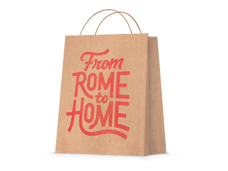 From Rome to Home hand lettering home rome typography type script swash brand branding lettering bag to go