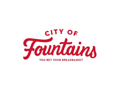 City of Fountains drink illustration mockup fountain pizza lettering script logo logotype horses focus cup