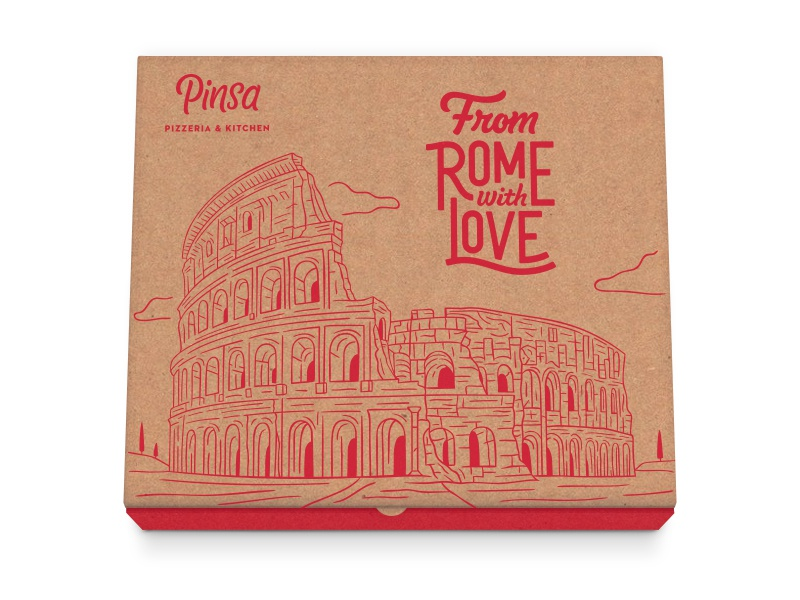 Pizza Box branding focus logotype logo script lettering colosseum rome mockup illustration pizza
