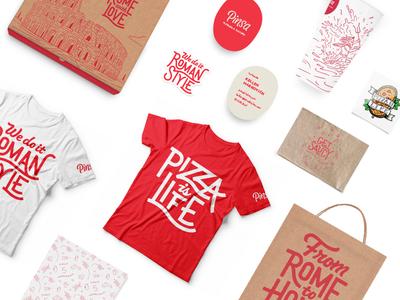 Pinsa Collateral  collateral pizza illustration mockup rome colosseum lettering script logo logotype focus branding