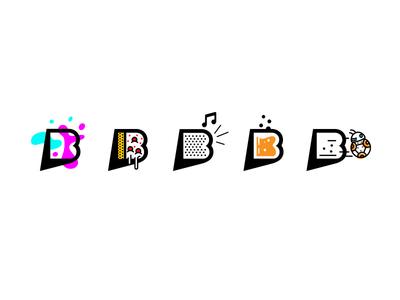 Bubbles mark b bubble music edm pizza beer bb8 illustration branding logo