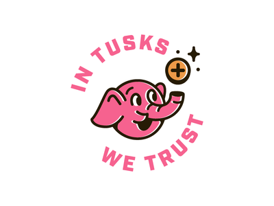 In Tusks We Trust 🐘 badge tusks elephant coin pink branding logo identity focus lab color