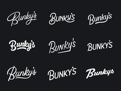 Bunkys Logotypes typography type swashy elephant bunkys sketch logotype hand lettering script logotypes logo