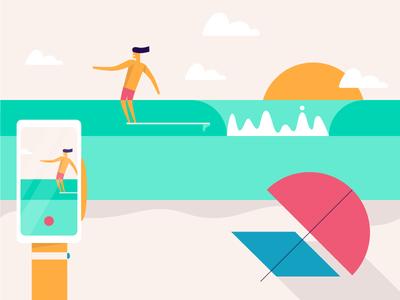 Shredding The Gnar cloud sun ocean surf hang ten waves umbrella 🏄 beach illo illustration surfer