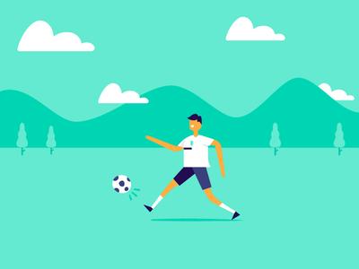 Kickin' it kick illustration player outside ⚽ athlete futbol football soccer mountain sun cloud