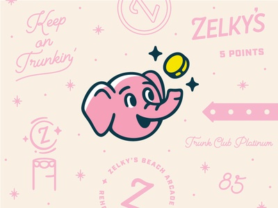 Friendly Lil' Mascot winning hand lettering script badge zelkys arrow stars arcade coin mascot elephant