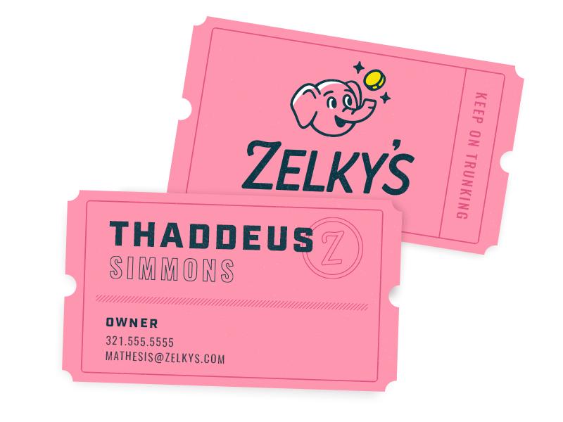 Business Cards branding identity system business card card logo focus lab elephant coin arcade