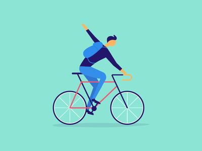 Biker bicycle turn signal bag messenger illustration illo ball pedal boy rider biker