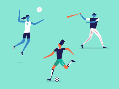 ⚽   ⚾   🏐 illustration illo ball soccer volleyball baseball swing kick spike girl hair uniform