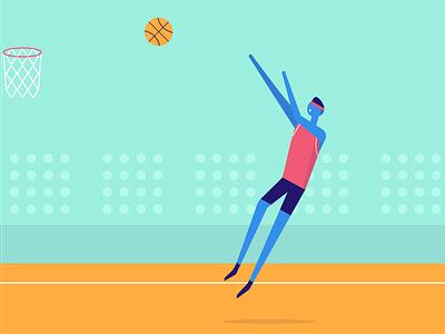 🏀 headband court swish jumpman jumper illustration illo ball basketball guy fadeaway uniform