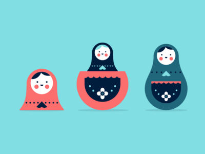 Russian Dolls header blog russian smile pattern flowers illustration illo dolls