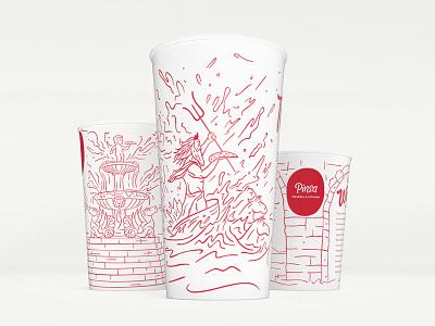 Pinsa Case Study cup focus horses logotype logo script lettering pizza fountain mockup illustration drink