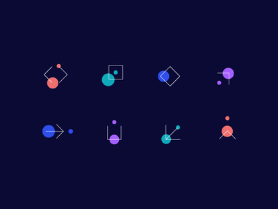 Icons logo move wayfind grow scale component square system movement icon