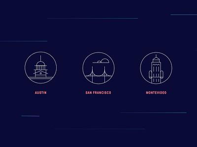 Cities & Landmarks capital bridge cloud location branding lines san francisco montevideo austin iconography icon