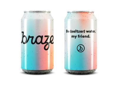 Be (seltzer) water, my friend. seltzer brand logo script monogram gradient branding can