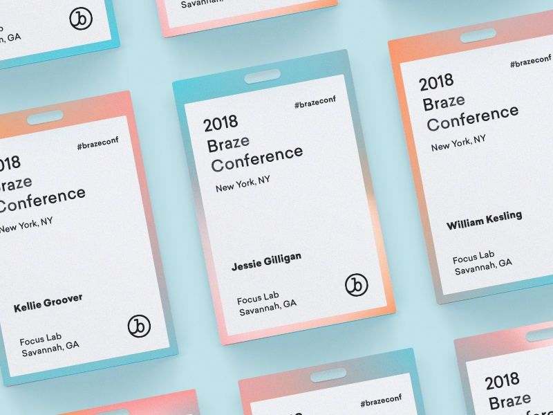 Conference Pass focus lab system script monogram holographic 2018 conference pass branding