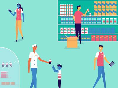 Retail Illos focus lab communication branding illustration illo cupcake package store grocery