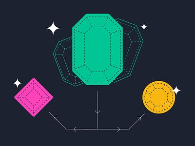 ✨ Gems ✨ automation system line dash shine illustration sparkle gems design focus lab branding