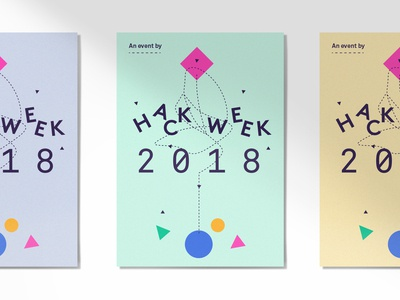 Posters 2018 dash focuslab brand icons shapes hack week language identity logo poster branding