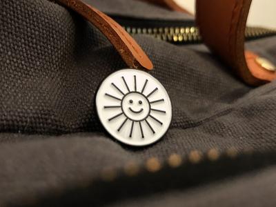 Out of Focus: Pins swag retreat smile sun monoline white black pin focuslab brand branding design