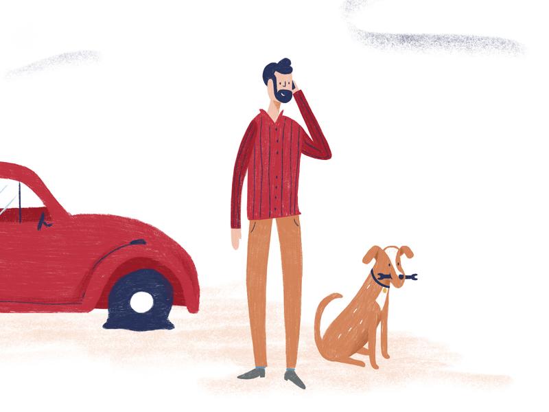 Peachy: Illo Style guy wrench beetle flat tire doggo dog visual identity focus lab branding brand illo illustration