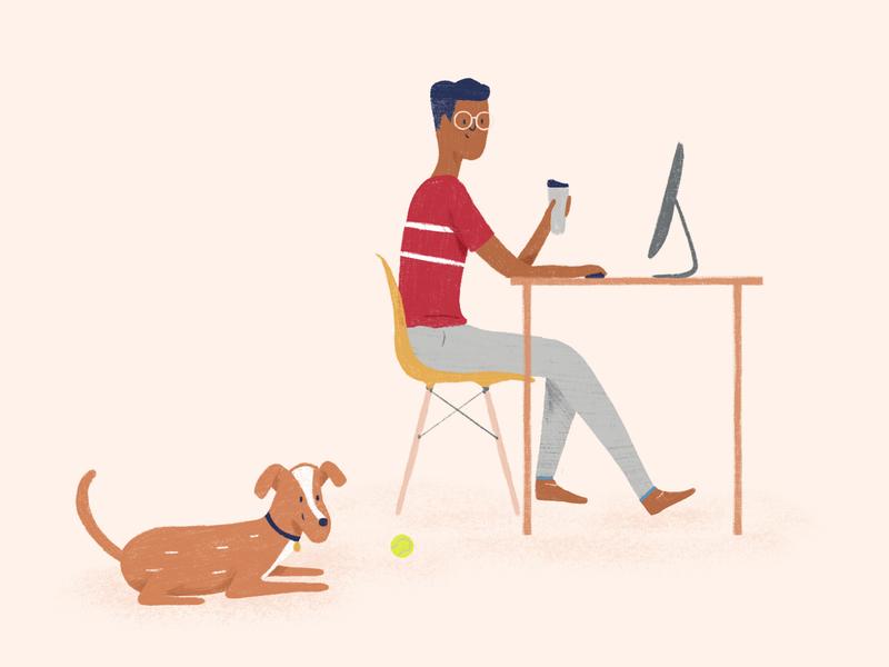 Peachy: Illo Style computer tennis ball visual illustration focuslab recruitment desk branding brand doggo dog