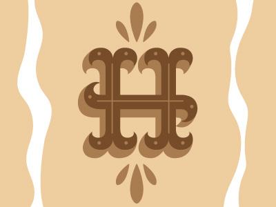 Southern H signage type typography brown honey honeybear bear ornamentals decretive typeface custom hand-lettering