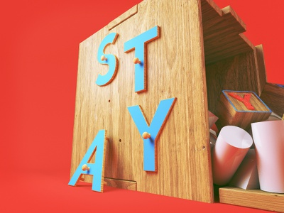 Childs Play play c4d cinema 4d youth childhood 3d wooden toys kids toys building blocks type typography