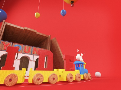 Childs Play v2 3dtype typography c4d toys children playtime cg train 3d illustration