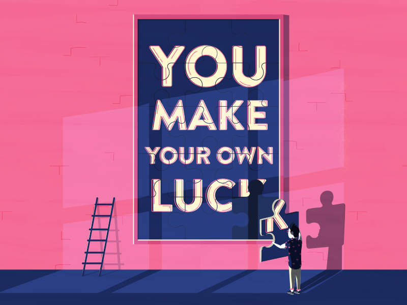 You Make Your Own Luck editorial illustration art potrait hipster gallery ladders people luck
