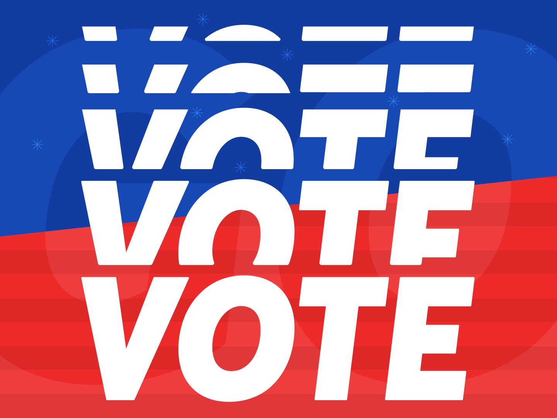 Vote blue white red america usa typography politics gov midterms type election vote