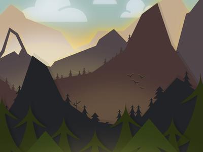 Awake vector mountains