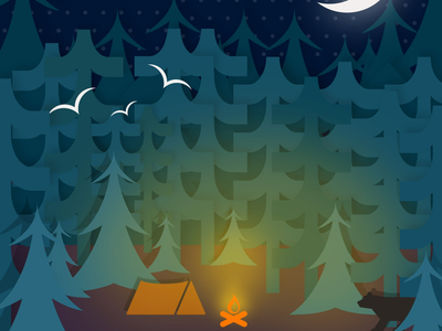 In the Woods design vector camping