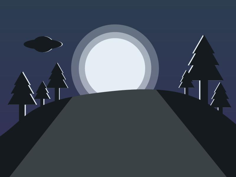 Aliens ship Silhouette Moonlight flat web app ux branding vector icon typography ui design logo illustration