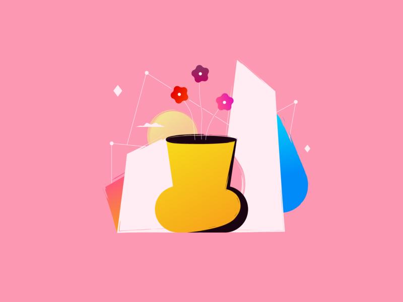 🌸 ғʟᴏᴡᴇʀs ɪɴ ᴀ ᴠᴀsᴇ 🌸 cloud sun shapes design flowershop vase flowers in a vase all animation illustration flowers illustration flowers
