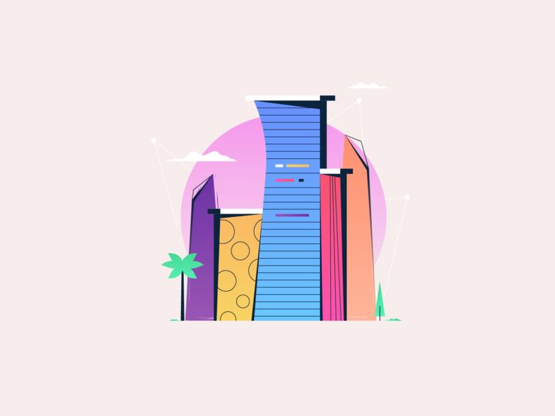MIAMI 🌞🌇 🌴 miami city vibes hot heat clouds sun buildings palmtree tree beach miami city
