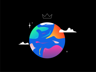 FLOWTUTS PLANET 🌍🌎🌏 crown stars clouds earth planet branding vector motion after effects animation illustrator flowtuts dribbble design illustration