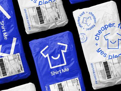 ShirtMe postage bags printing tshirt fun identity smile clean bags postage logo typography branding