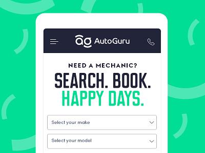 AutoGuru mobile playful simple typography type clean digital mobile