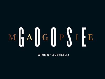 Magpie Goose typography lettering type typography wine goose gold foil bird wine label logo